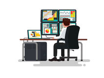 Trader at a desk. Vector illustration. Of a flat design Stock Photo