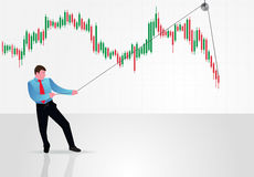 Trader and forex chart. Stock Photo