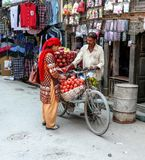Trader with fruit - Kathmandu, The Streets of Thamel Stock Images