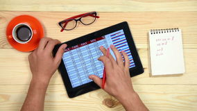 Trader Man Using Touch Pad stock video footage