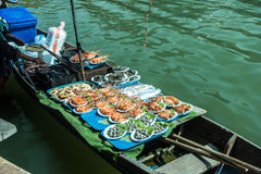 Trader's boats in a floating market in Thailand. Stock Image