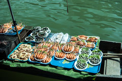 Trader's boats in a floating market in Thailand. Stock Images
