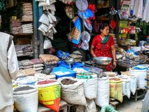 Trader with spice - Kathmandu, The Streets of Thamel Stock Images