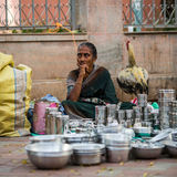 Trader on the street of Indian town Stock Photos