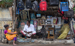 Trader on the street of Indian town Stock Photo