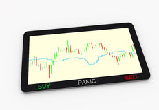 Trader tablet platform with financial chart. Financial chart in traders tablet computer with a three decision making buttons only buy, panic and sell. useful for Stock Photos