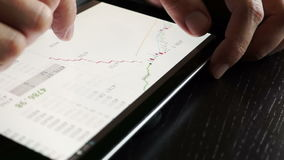 Trader using tablet for checking stock data. Close up stock footage