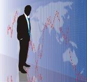 Trader, vector illustration. Black figure merchant and graph, vector illustration Stock Photography