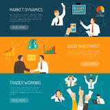 Trader Work Horizontal Banners Set. With profitable financial solutions analysis of market stressful profession  vector illustration Royalty Free Stock Photography