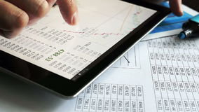 Trader working with stock market information. Trader working with stock market information on a tablet stock footage