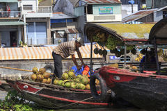 Traders on boats Stock Image