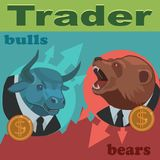 Traders are bulls and bears. Traders bulls and bears are constantly fighting for the prices to buy and sell to profitably earn a lot of money vector illustration