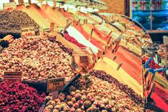 Traders on the Istanbul market selling a variety of goods. Royalty Free Stock Photo