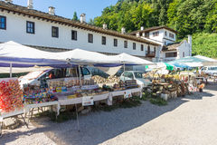 Traders souvenirs in the Troyan Monastery in Bulgaria Stock Image