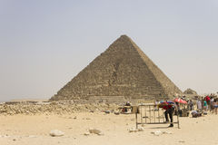 Traders and visitors in front of Menkaure pyramid Stock Photography