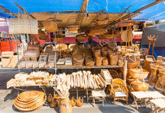 Traders wooden kitchenware in the town of Leskovac in Serbia royalty free stock images