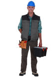 Tradesman arriving at work Royalty Free Stock Photos