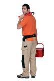 Tradesman arriving at work Stock Photos