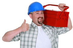 Tradesman carrying a toolbox Stock Image