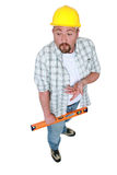 Tradesman expressing himself Royalty Free Stock Photography