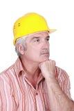 Tradesman głęboko w myśli Obraz Royalty Free