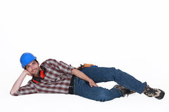 Tradesman on the ground Royalty Free Stock Photo