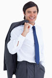 Tradesman with jacket over his shoulder Royalty Free Stock Photography