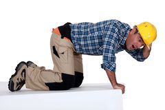 Tradesman looking stunned. Funny picture of tradesman looking stunned Royalty Free Stock Photography