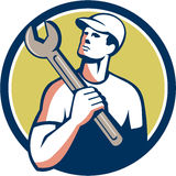 Tradesman Mechanic Spanner Circle Retro Royalty Free Stock Photography