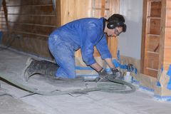 Polishing the concrete Stock Image