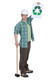 Tradesman promoting recycling Stock Photography