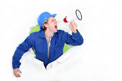 Tradesman screaming Royalty Free Stock Images
