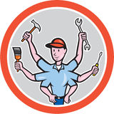 Tradesman Worker Six Hand Cartoon Royalty Free Stock Image