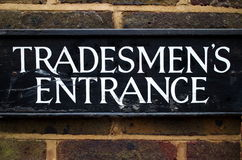 Tradesmen's Entrance Sign Royalty Free Stock Image