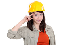 Tradeswoman giving a salute Royalty Free Stock Photo