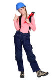 Tradeswoman giving the thumb's up Stock Photos