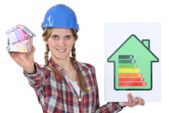Tradeswoman holding efficiency rating sign Royalty Free Stock Photo