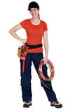 Tradeswoman holding a wire Stock Photo
