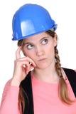 Tradeswoman Pensive Fotografie Stock