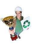 Tradeswoman receiving an award Stock Photo