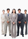 Tradeswoman standing with her team Stock Images