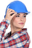 Tradeswoman with a vision Stock Photo