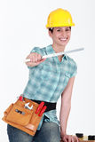 Tradeswomanwith a ruler Royalty Free Stock Images