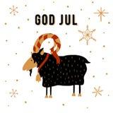 Tradição escandinava do Natal Ilustração de Yule Goat do Natal com o deus dinamarquês julho do texto, Feliz Natal no inglês ilustração royalty free