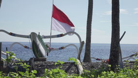 Tradichionny boats of fishermen on seashore and fishing tackles, Bali. Indonesia stock video