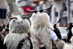 Tradición del carnaval de Cerdeña con Issohadores y la máscara de los mamuthones Foto de archivo libre de regalías