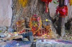 Tradición india o baniano que adora, templo de Brihadeeswarar, Thanjavur, Tamil Nadu Fotografía de archivo libre de regalías
