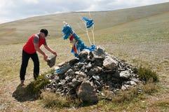 Tradición que viaja en Mongolia Imagen de archivo