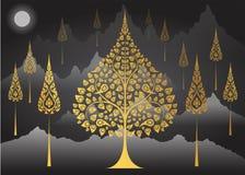 Tradición tailandesa del árbol de Bodhi en fondo de la montaña ilustración del vector