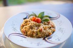 Tradicional Risoto служат рисом, который в ресторане Стоковая Фотография